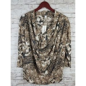 Nwt Andrew Charles Womens Top Animal Print Sz Med